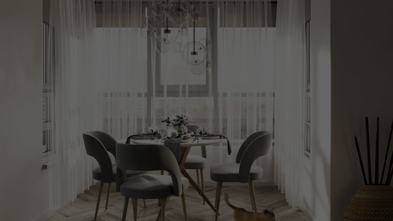 Dining room in bay window with plenty of natural light