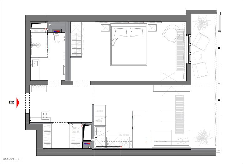 One room apartment in modern style in apartment complex ...