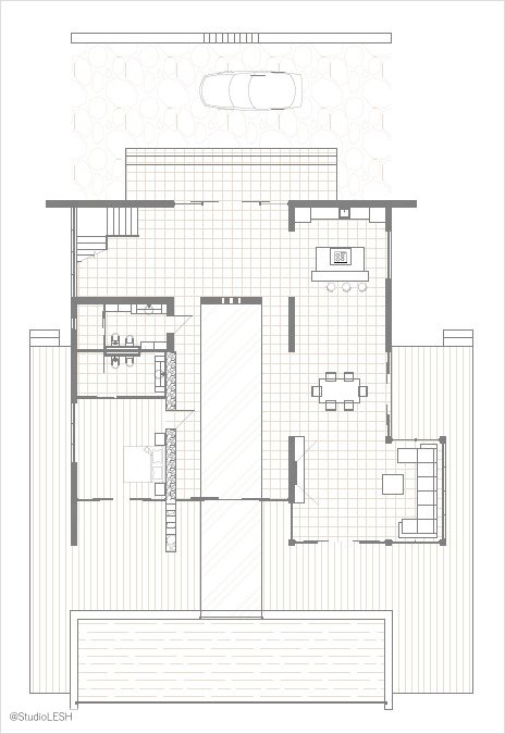First floor plan of a modern two-story house