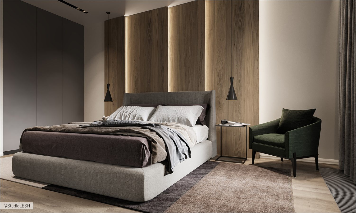 Large bed in the bedroom with a creative headboard
