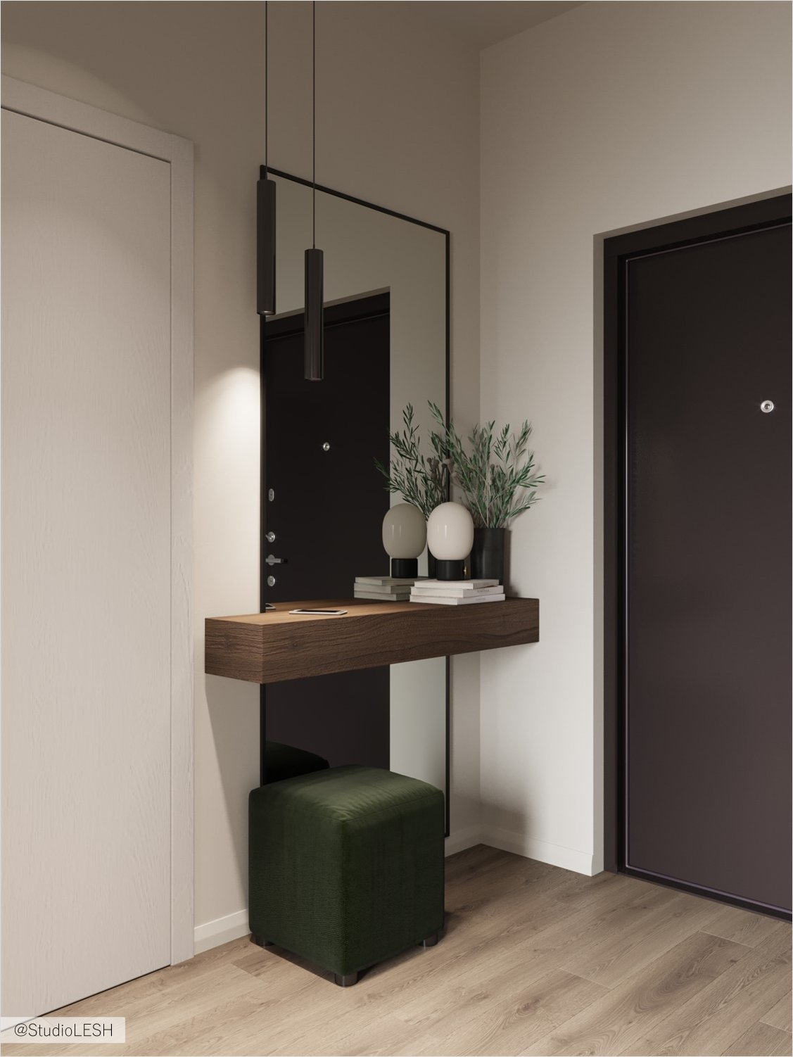 Floor mirror in the hallway and focus on the green ottoman