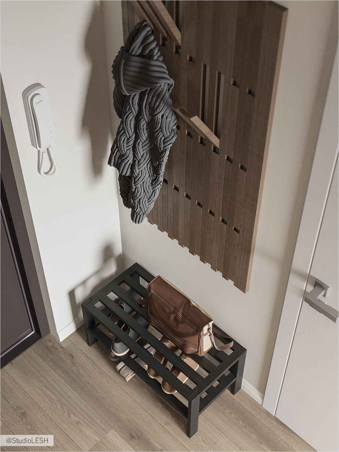 Wooden coat rack in the hallway