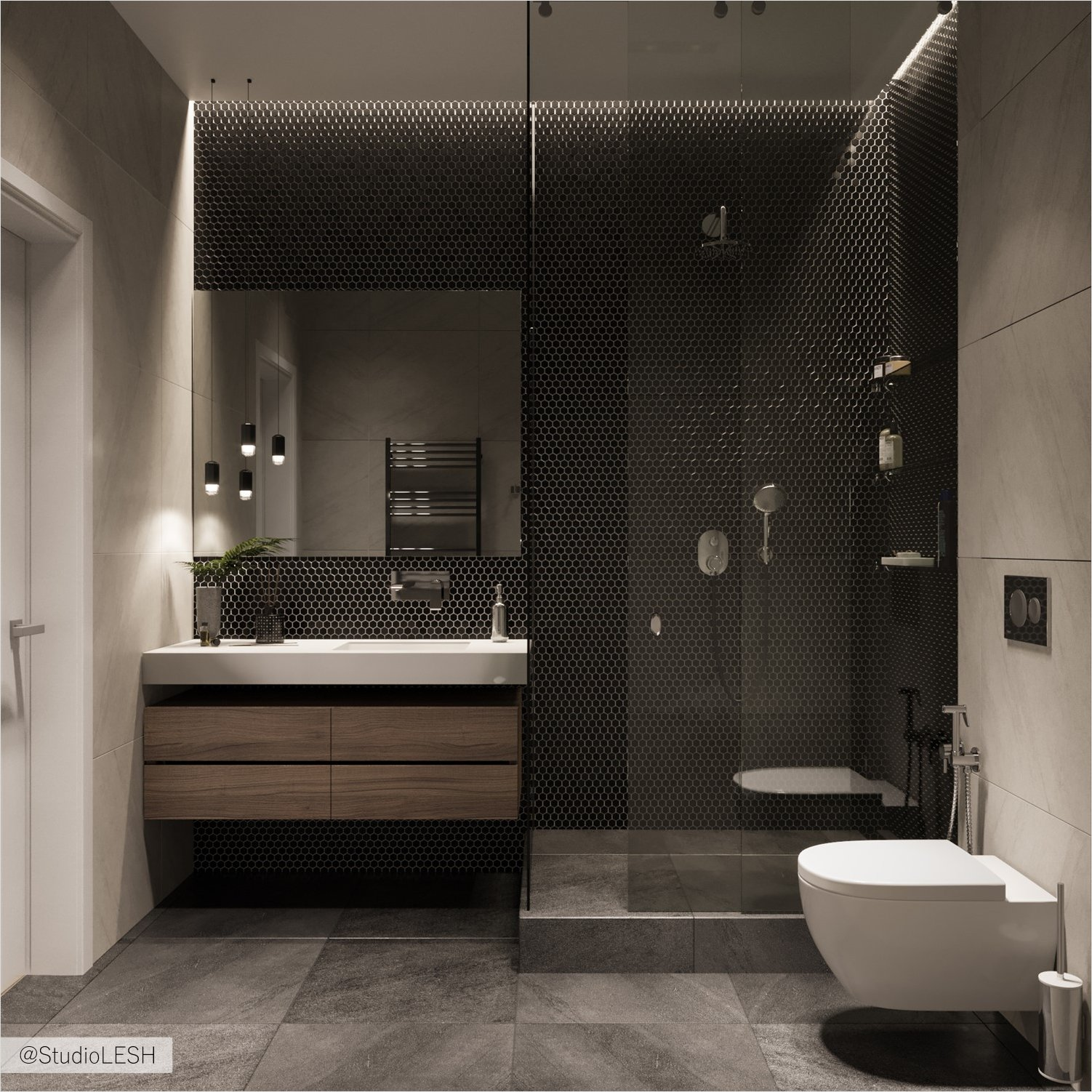 Mosaic like accent in the bathroom