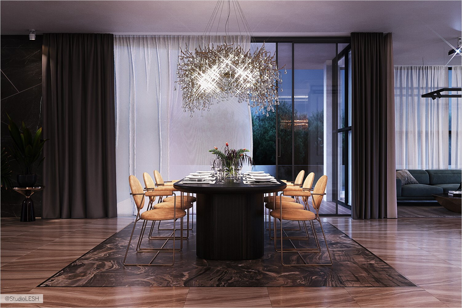 Dining area highlighted by widescreen granite