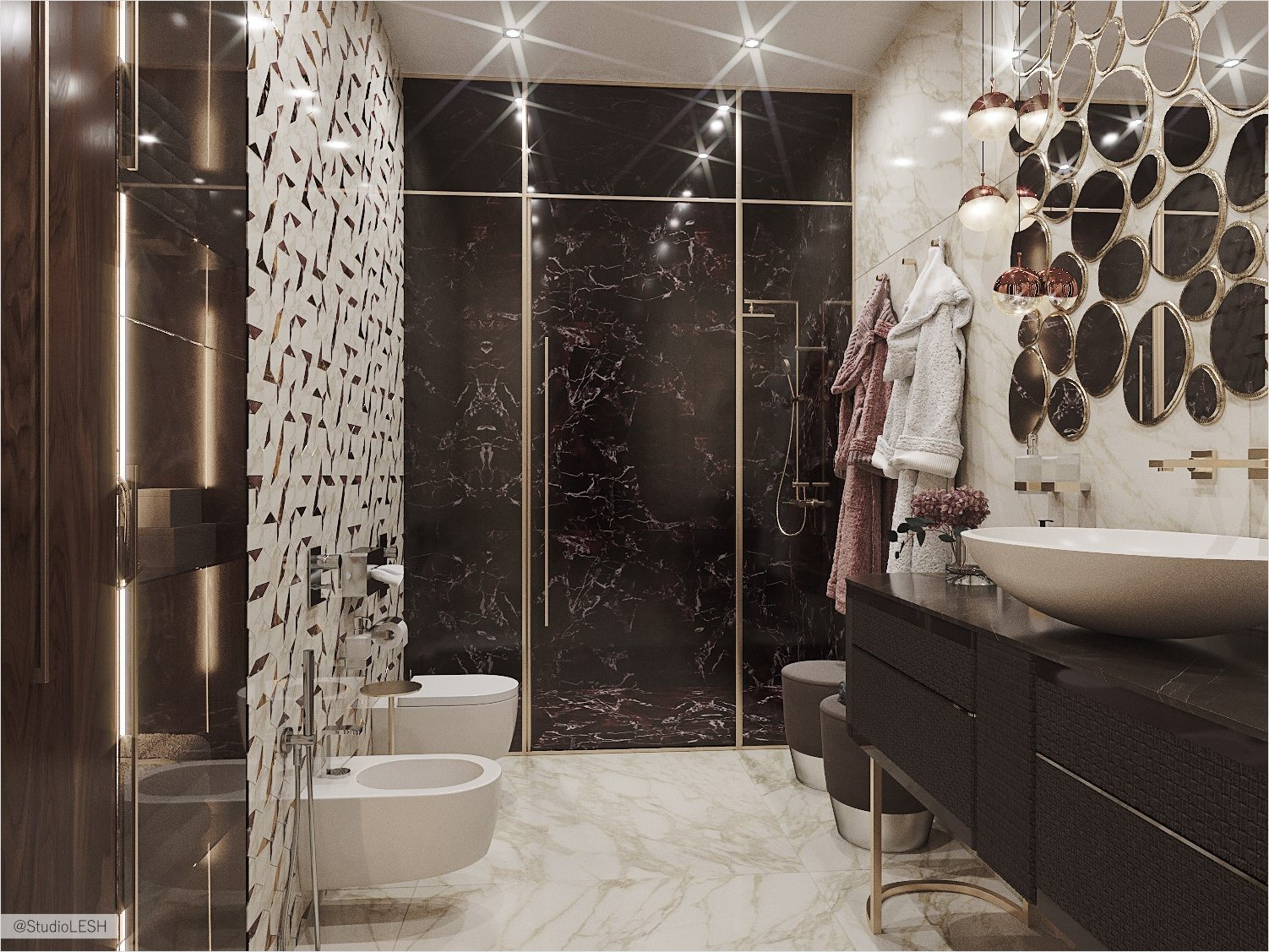 Sulfur marble shower room