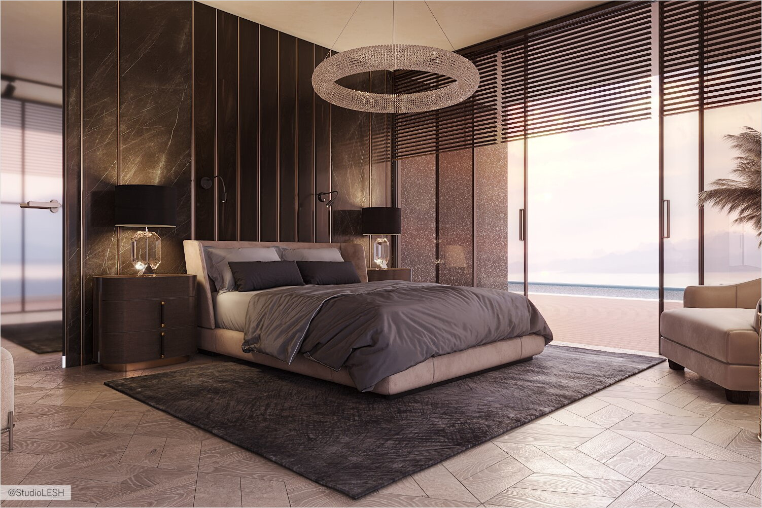 Bedroom with panoramic windows and mirrored floor doors