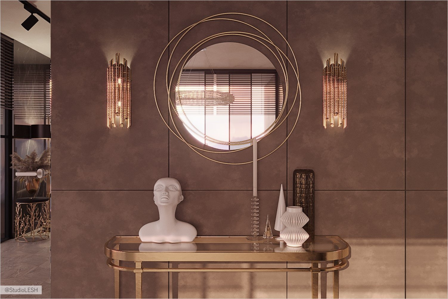 Round mirror in the bedroom with a console and designer things