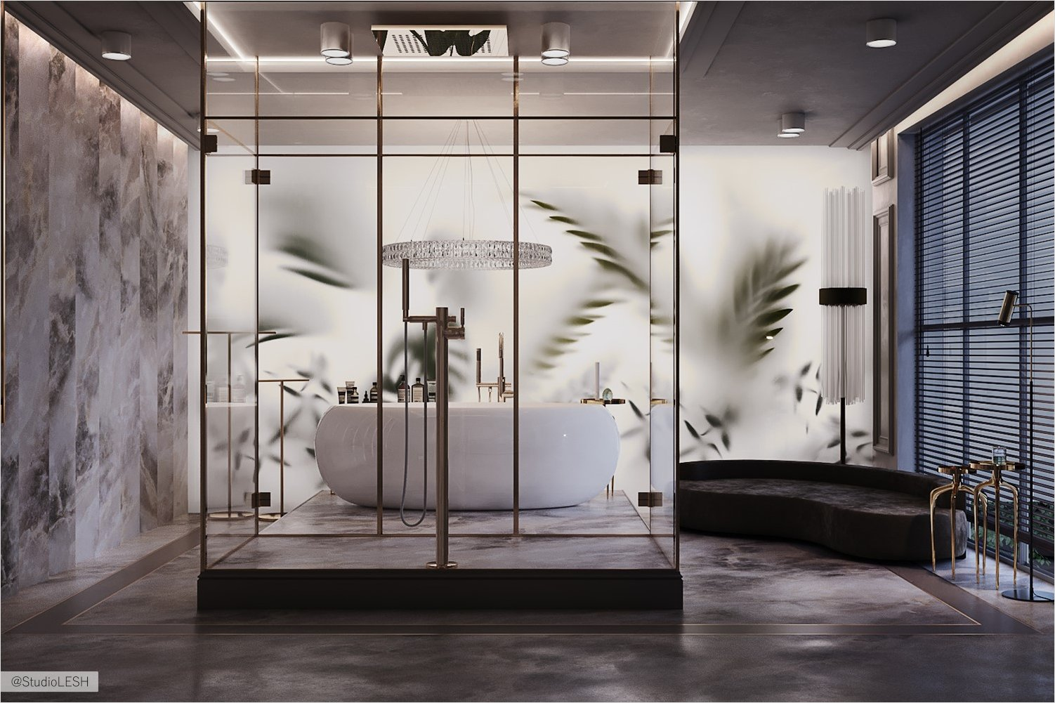 Tropical atmosphere created by frosted glass