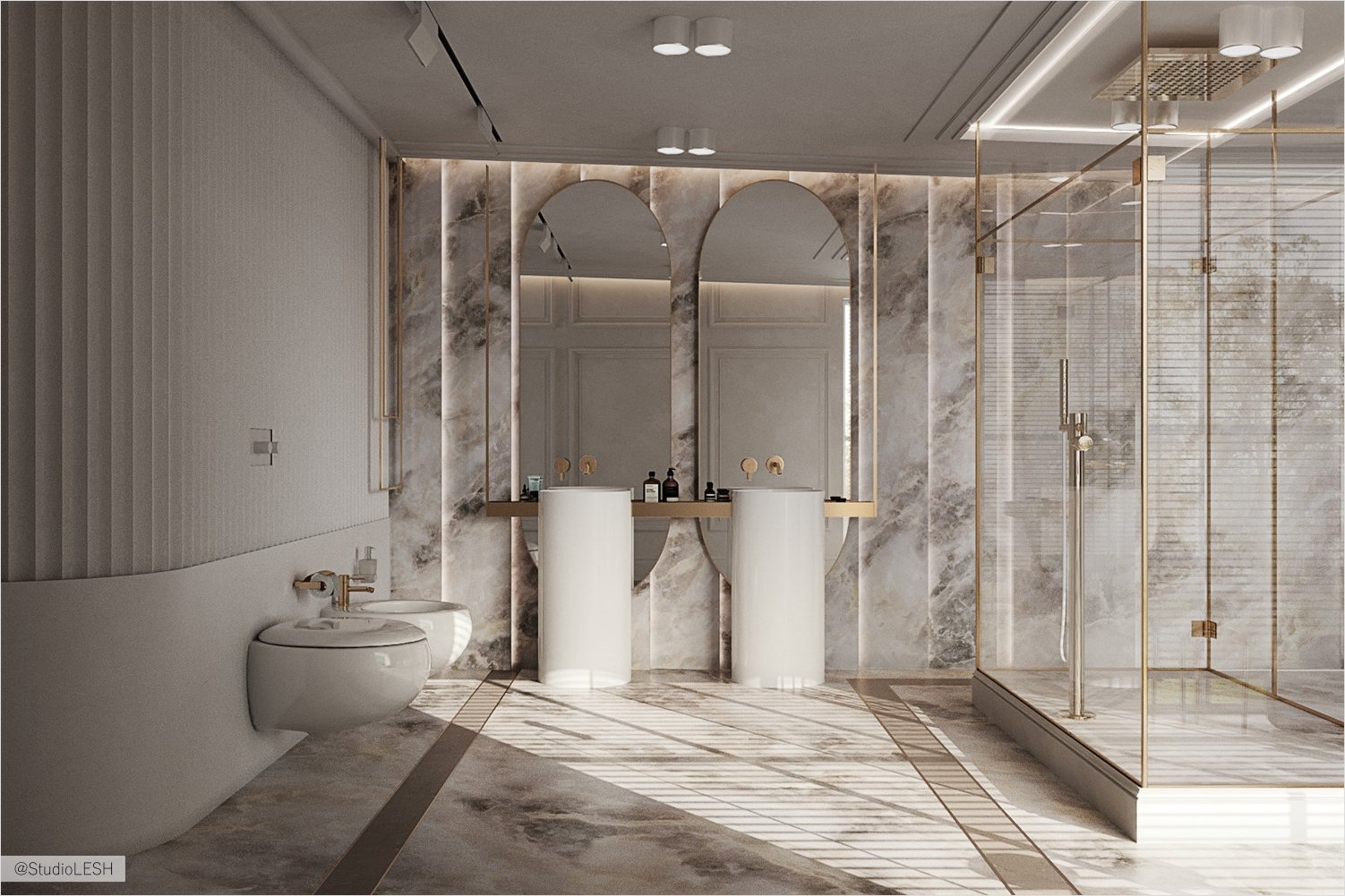 Light bathroom decor in light porcelain stoneware