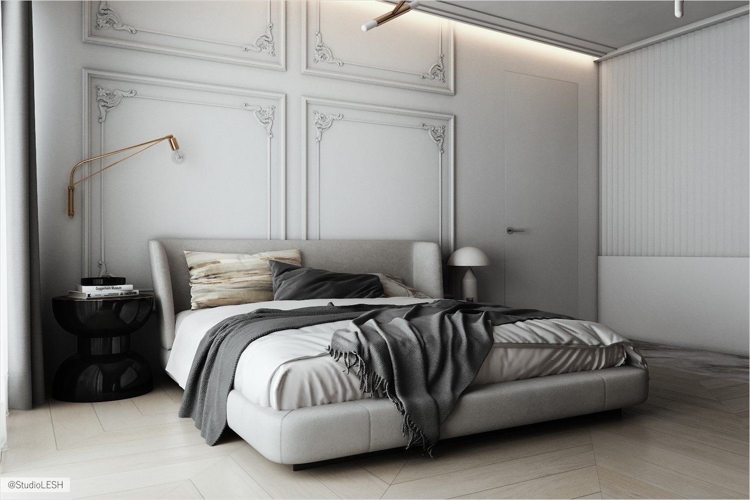 Classic bedroom with moldings in light gray