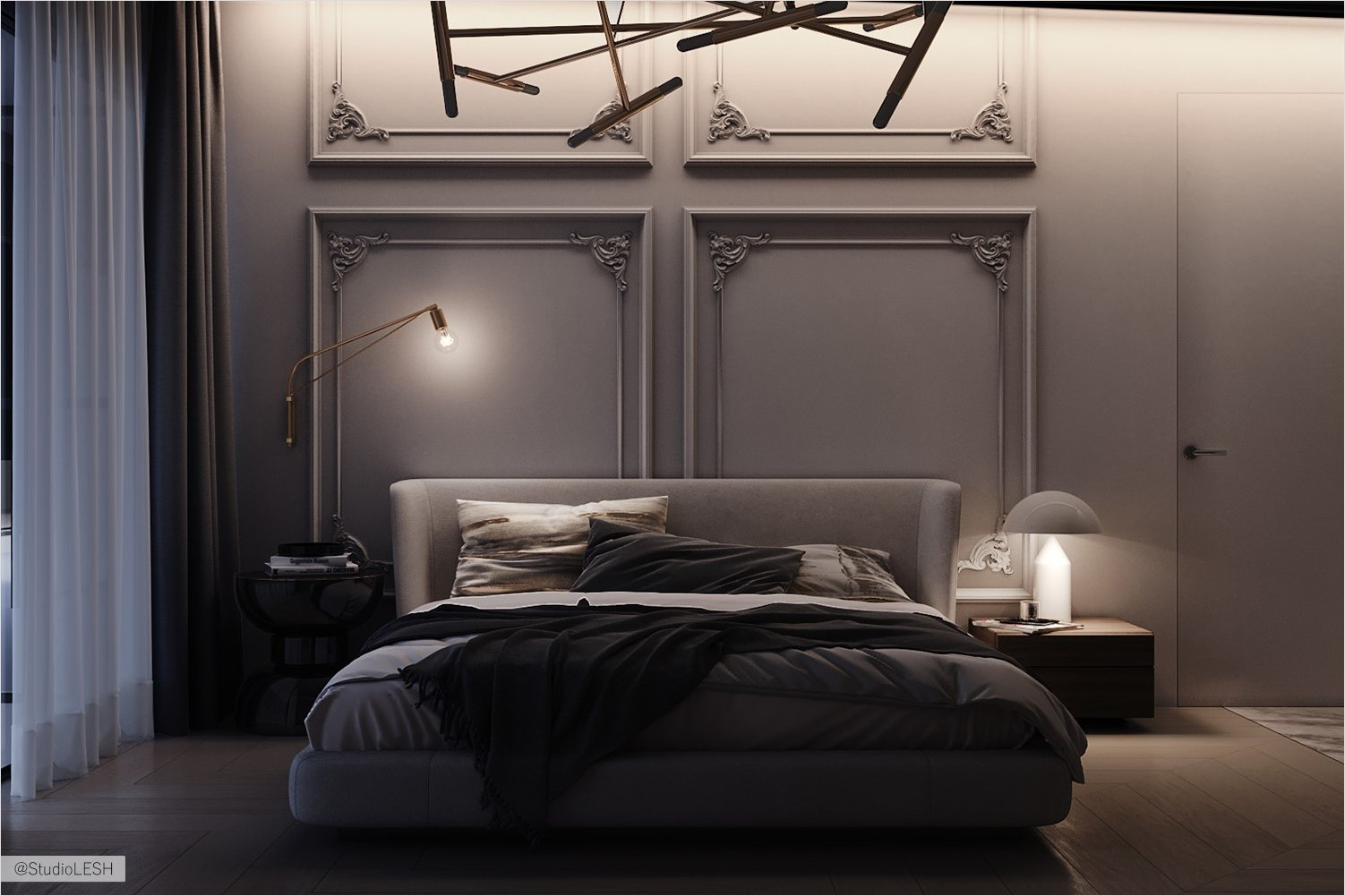Evening view of the bedroom in gray shades