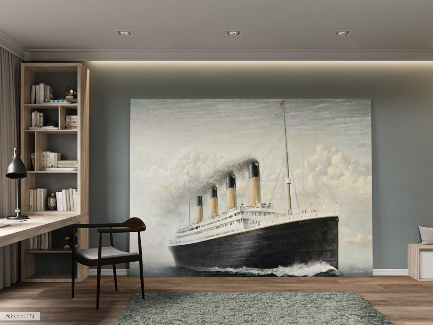 Designing of a children's room with a large picture of the ship
