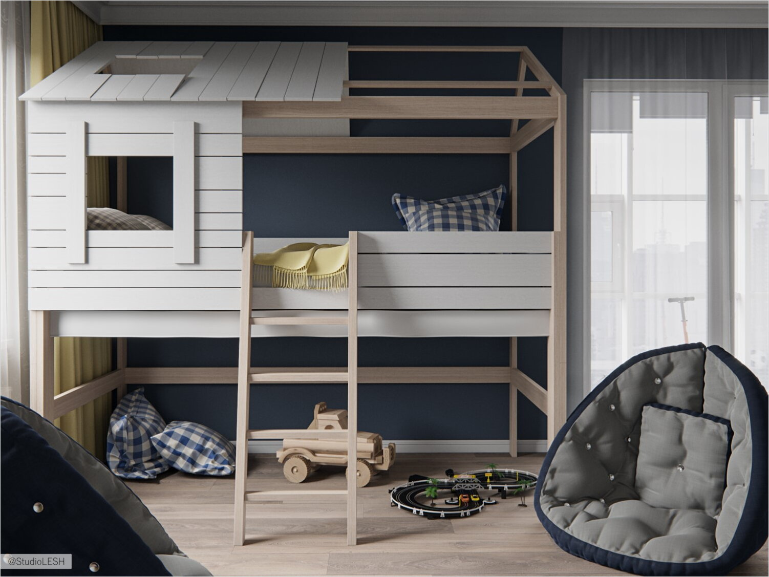 House-shaped bunk bed and comfortable armchair