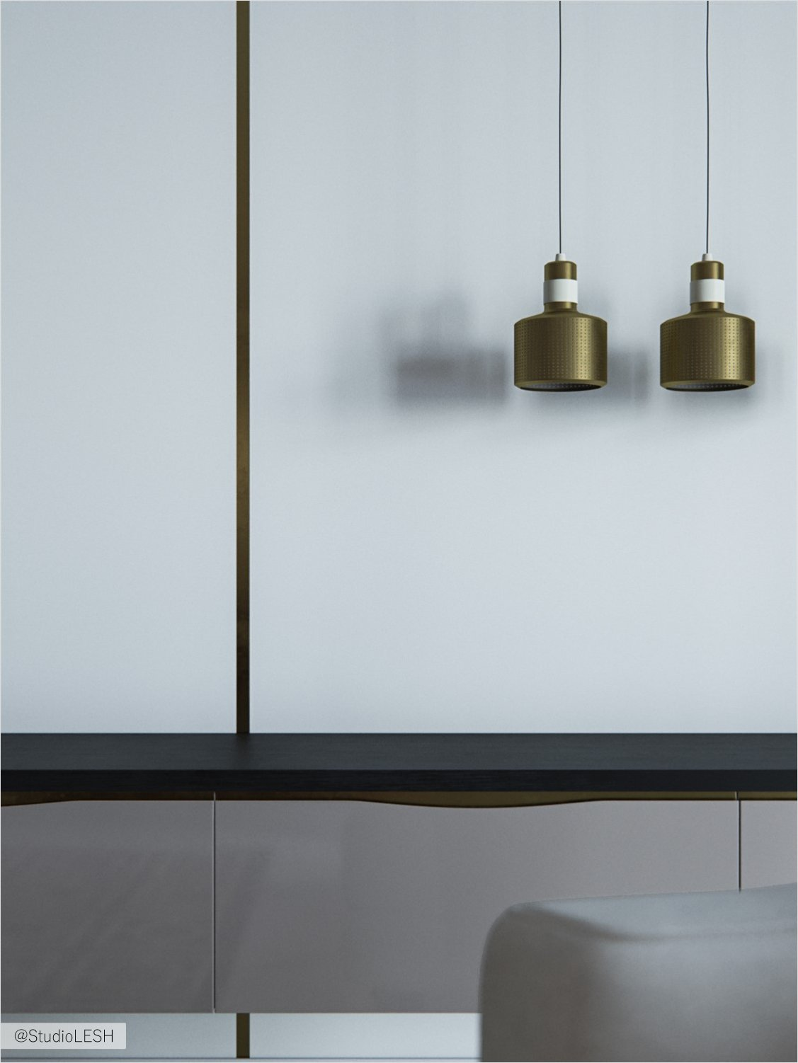 Designer light and hanging drawers with designer chairs