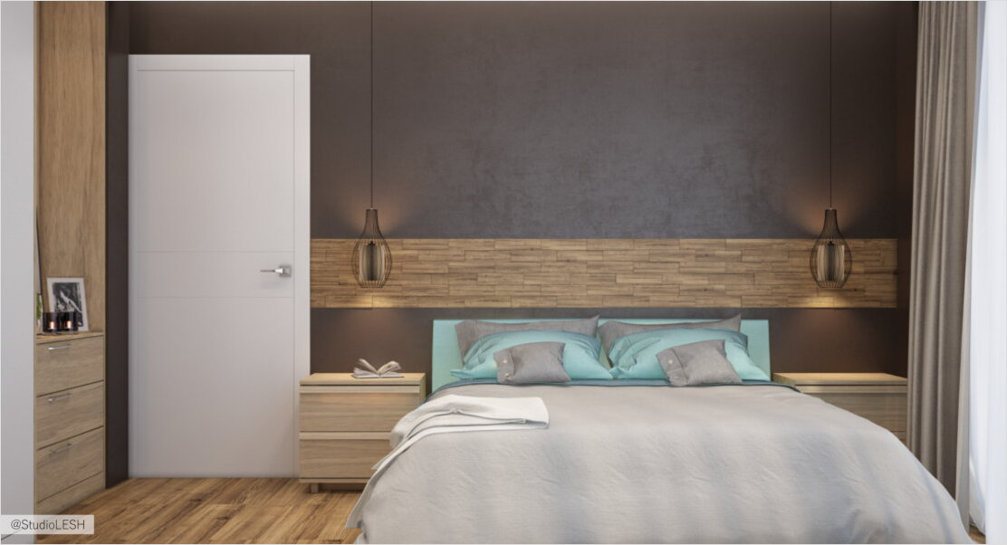 3D visualization of the bedroom with wooden headboard