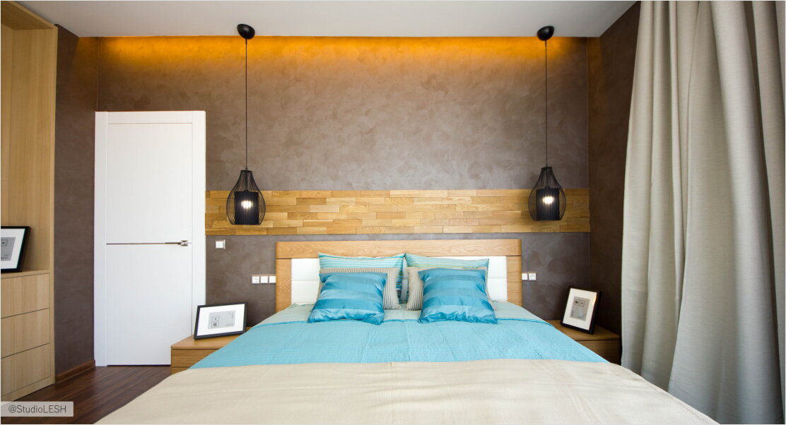 Final project of the bedroom with wooden headboard