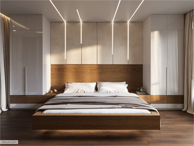 Flying bed in the bedroom