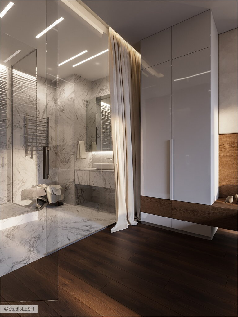 Transparent shower room in the bedroom