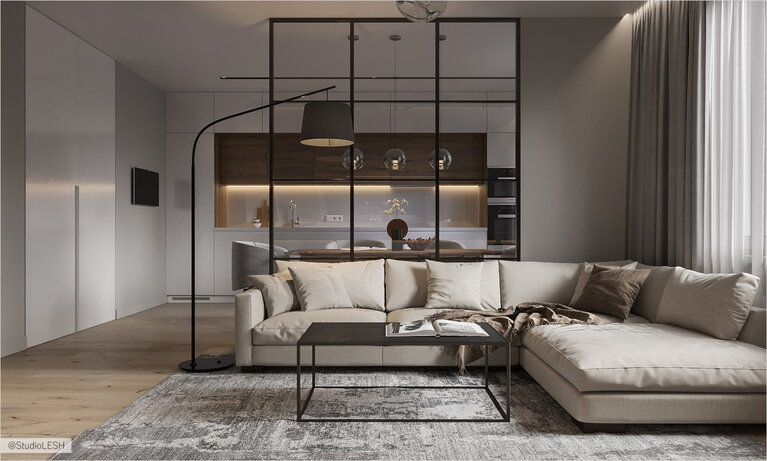The glass partition in spacious living room