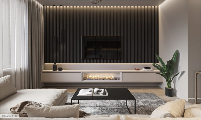 Bio-fireplace in hanging shelf and lighting panel behind the TV