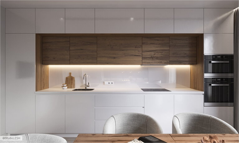 Smoth facades of the kitchen in minimalistic style