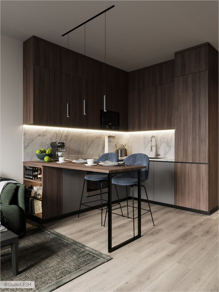 Zoning in combined kitchen with living room  with the table from dark wood