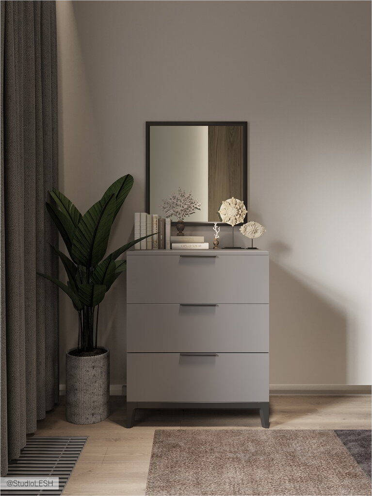 A nightstand in the bedroom in the Scandinavian style with a mirror