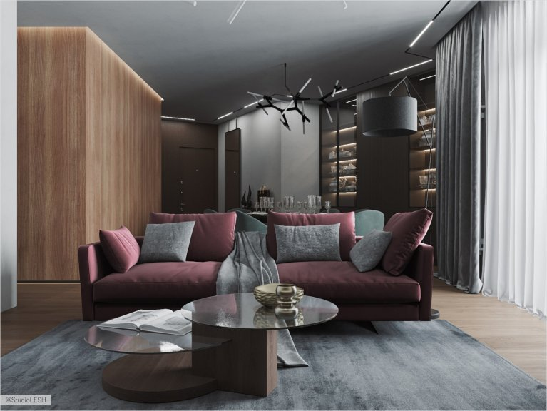 Spacious living room with bright sofa and cube in light finish