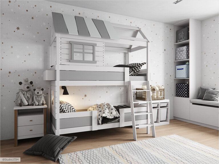 Bunk bed in the children's room in the shape of the house