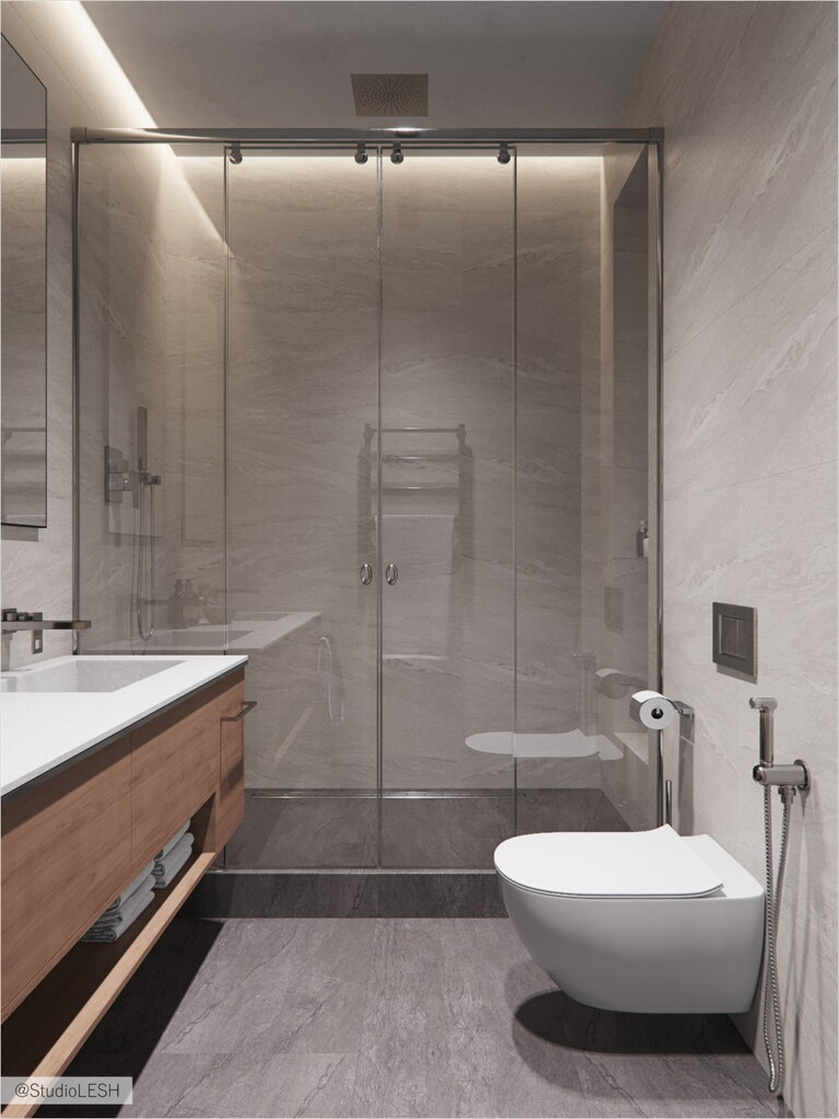 Shower room in a spacious apartment