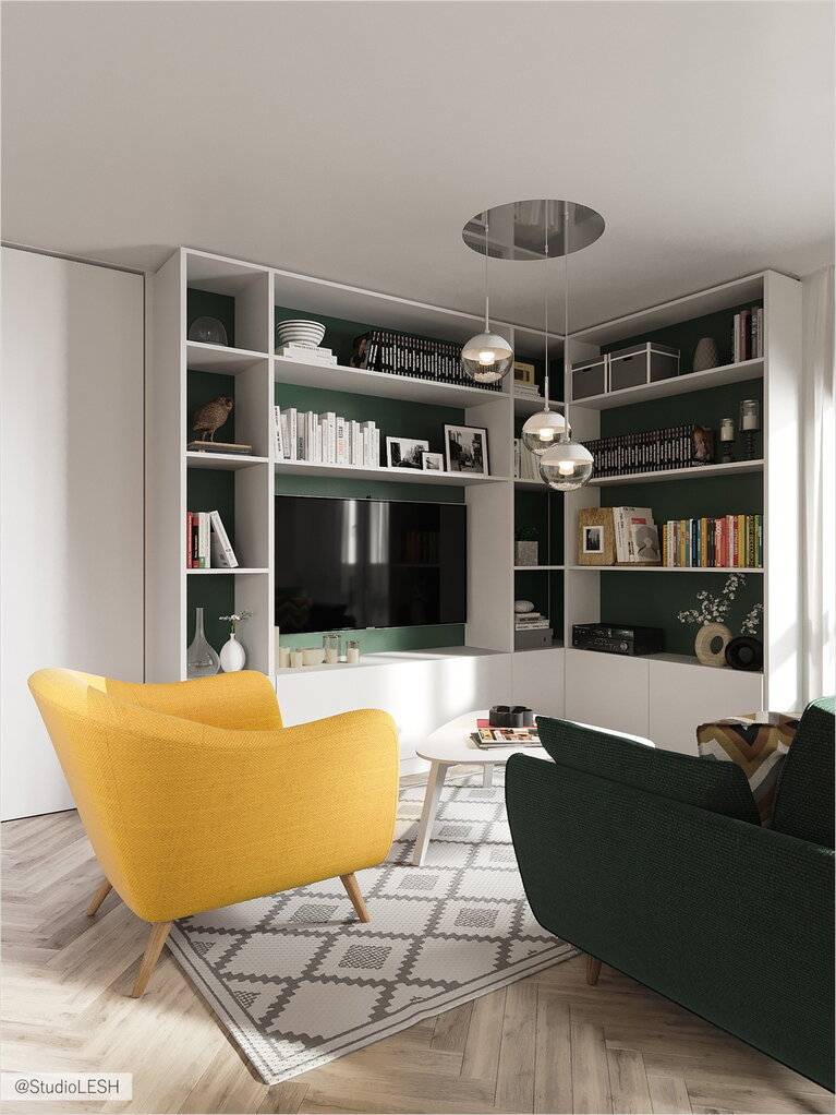 Large storage area for books in the living room
