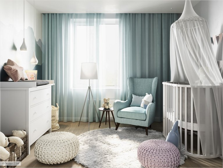 Light blue shades of children's room