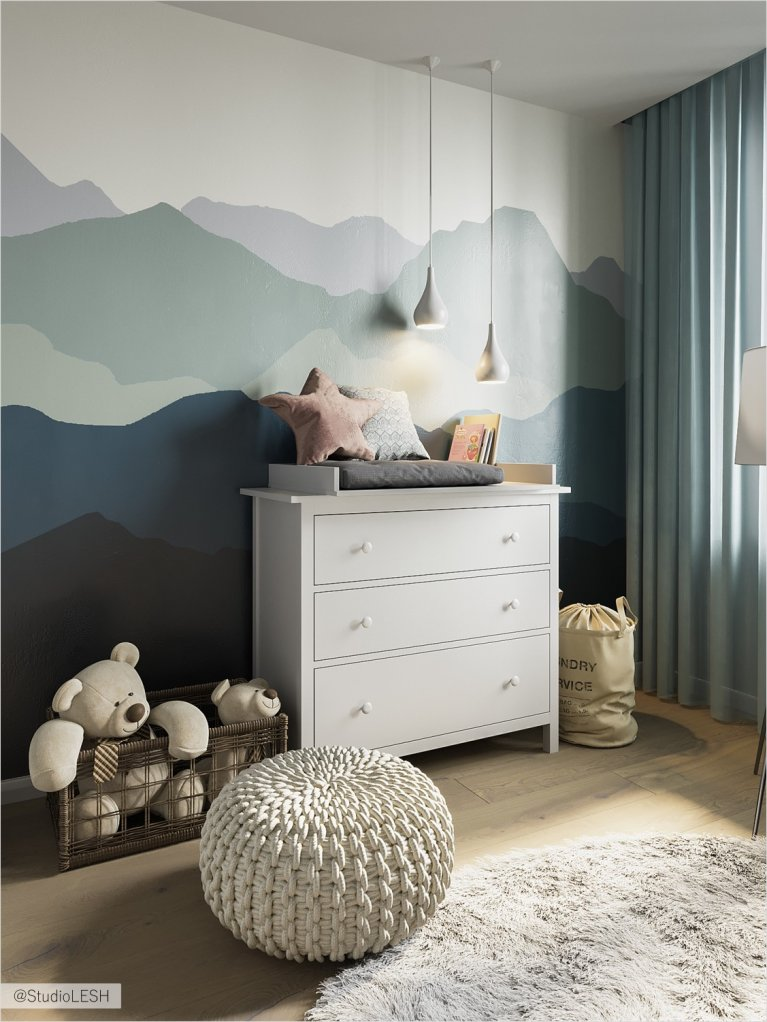 Creative wallpaper with mountains and light chest of drawers