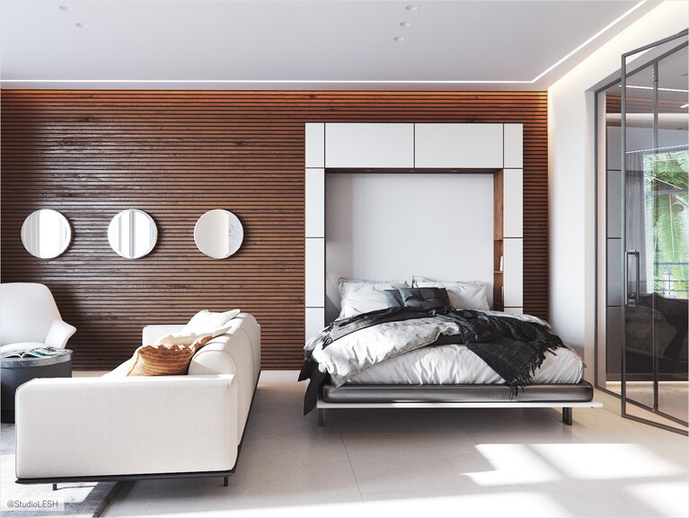 Living room-bedroom with a folding bed