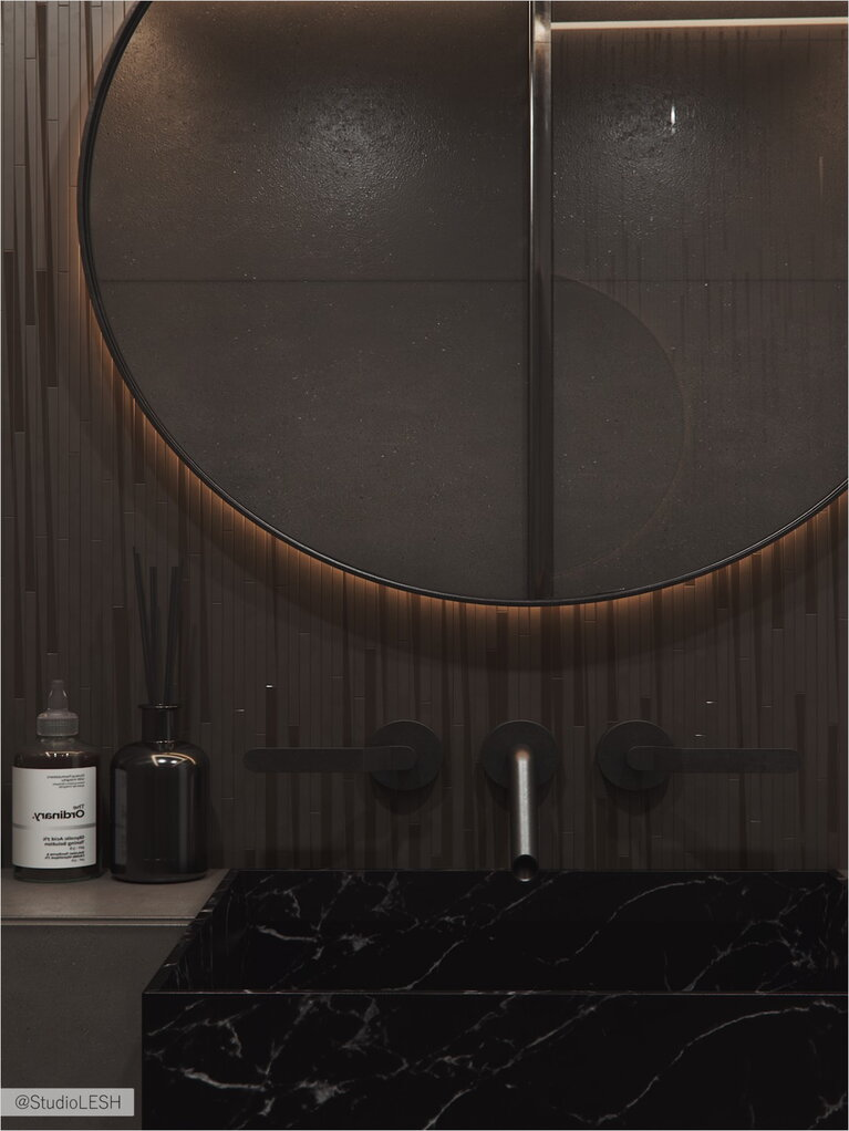 Round mirror for softening rectangular shapes