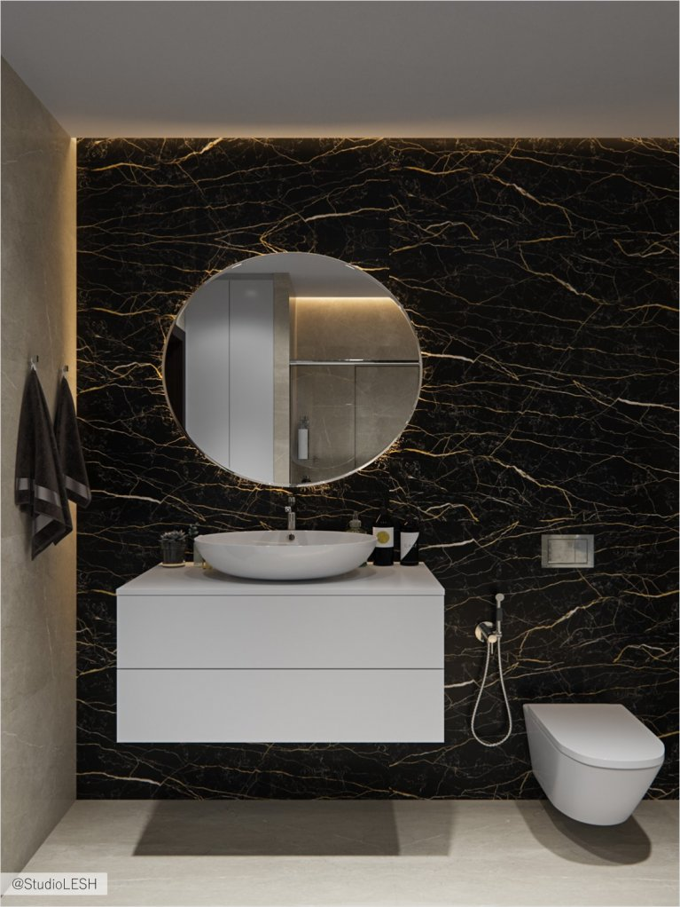 Creative bathroom with a round mirror and a unique marble wall