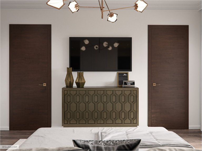 Emphasis on wooden doors in the bedroom