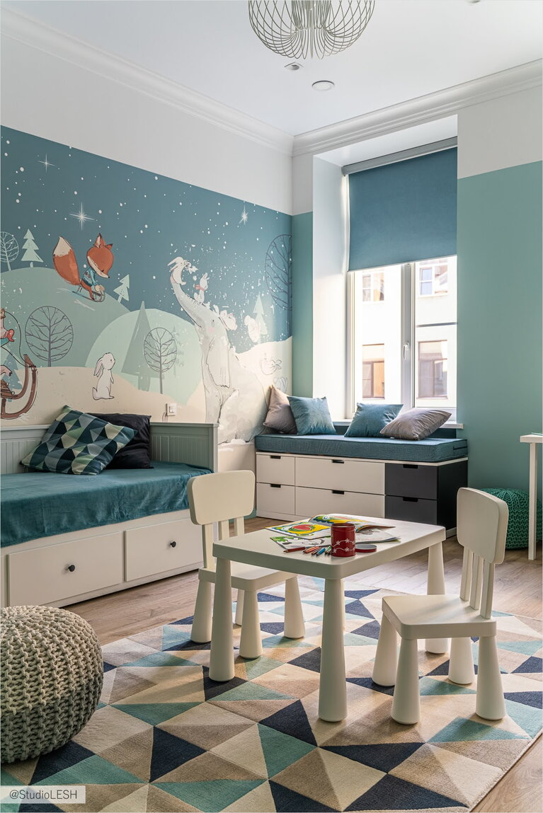Children's room for a child with a soft window sill