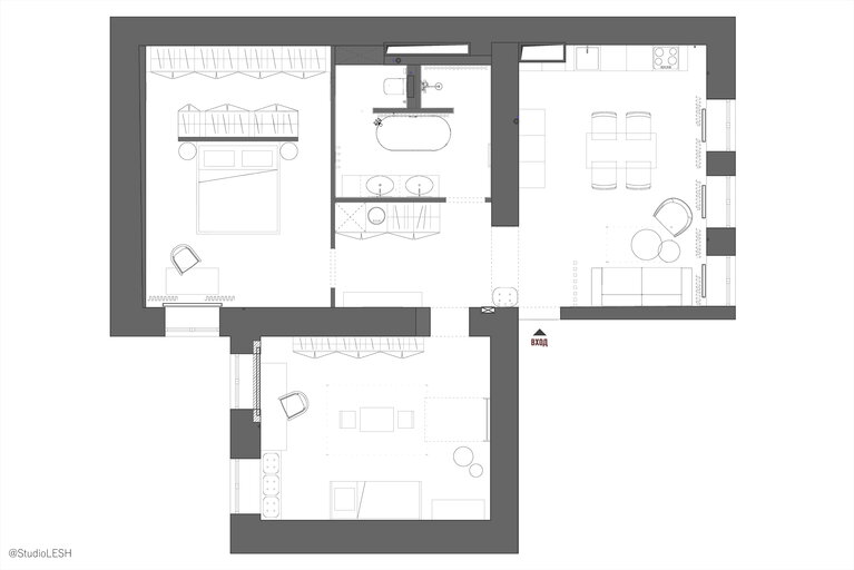 Layout of a two-room apartment in the old fund