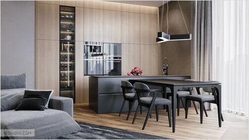 Apartment in the residential complex Arena Park: kitchen and living room