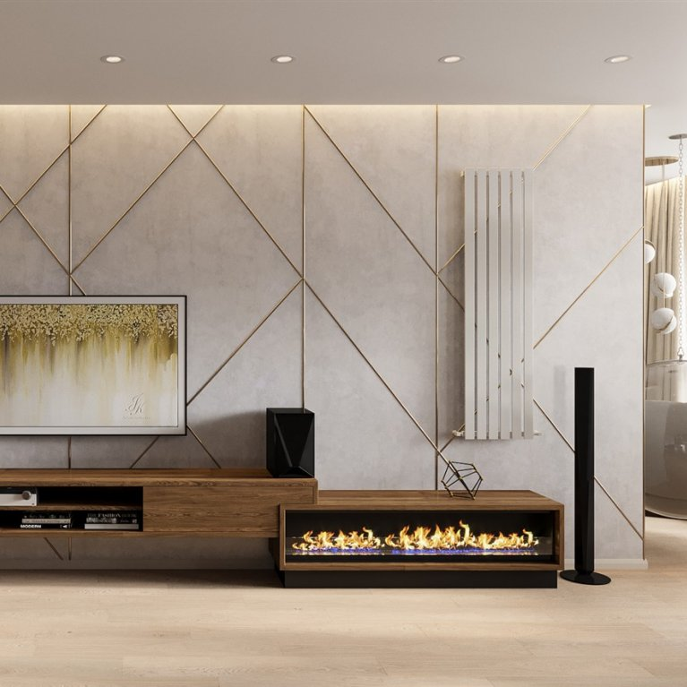Decoration wall with TV in art-deco style