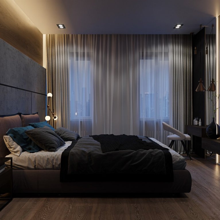 Loft style in a big bedroom