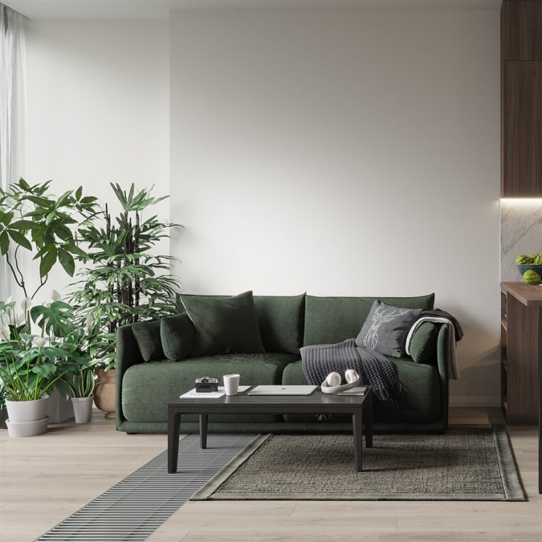 Green sofa and plants in the living room