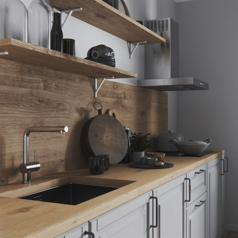 Wooden kithen suit in kitchen in scandinavian style