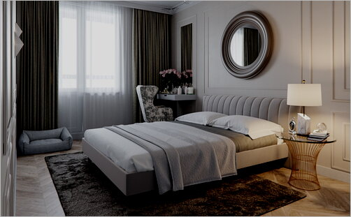 Neoclassical bedroom with round mirror