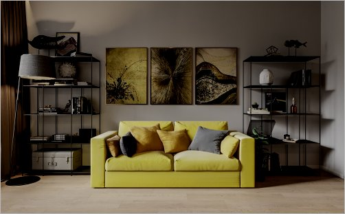 Room with yellow couch