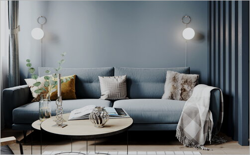 Blue living room in scandinavian style with acsessories