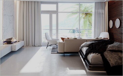 Bright living room in a minimalist style with a panoramic window.