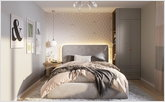 Light bedroom with big bed and wardrobe of combine type