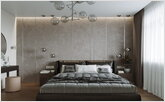 Modern cozy bedroom with a dressing table for the hostess